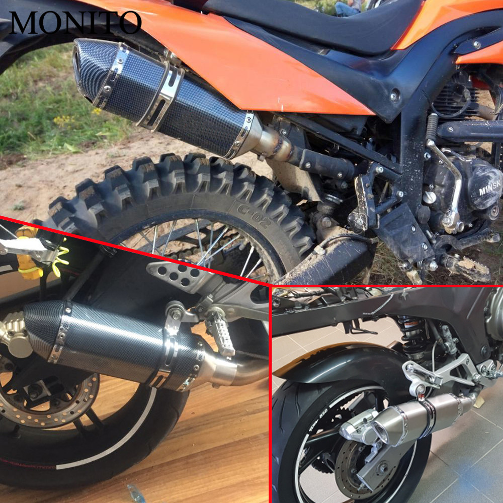 Universal Motorcycle Akrapovic Exhaust Dirt Bike Escape Modified Exhaust For Moto BREVA 750 1100 GRISO MGX21 GT8V NORGE in Decals Stickers from Automobiles Motorcycles