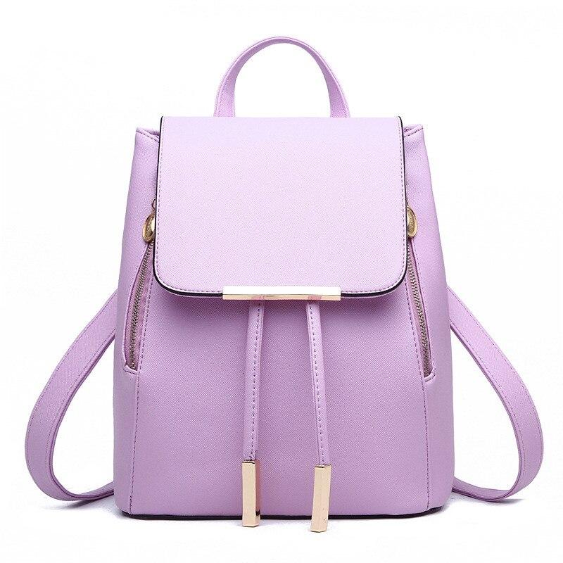 ФОТО Casual PU Women Backpacks Traveling Bag Elegant Violet Girl's Schoolbag Adjustable Straps Zipper