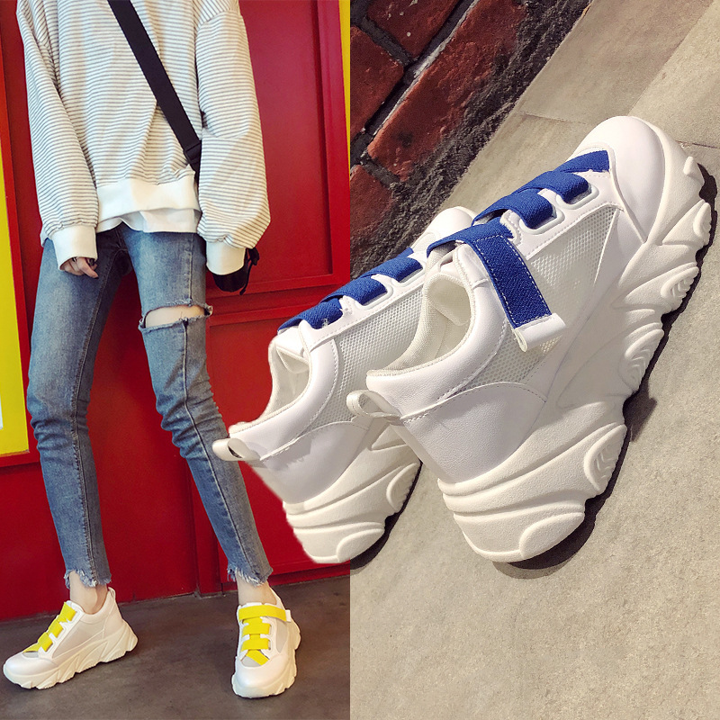 Koznoy Sneakers Women Spring Mesh Dropshipping Breathable Muffin Bottom Ins Fashion Increase Lace Sewing Solid Women Shoes in Women 39 s Vulcanize Shoes from Shoes