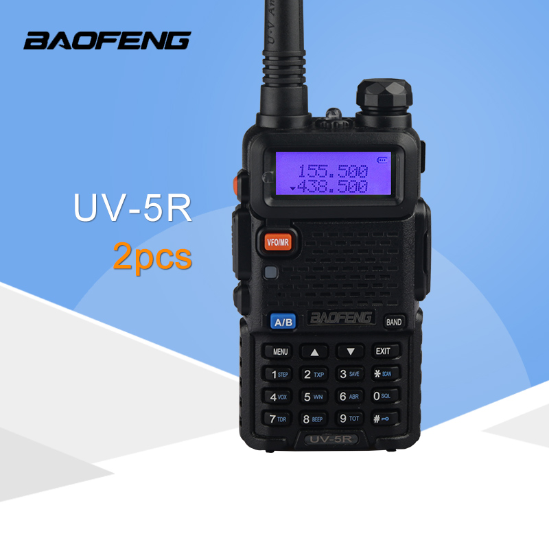 (2 PCS)Baofeng UV5R Ham Two Way Radio Walkie Talkie Dual Band Transceiver (Black)-in Walkie Talkie from Cellphones & Telecommunications