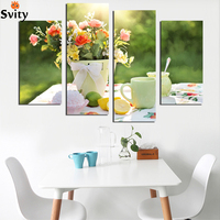 4 PCS coffee cup Kitchen Painting On Canvas Large Pictures Wall Art Cuadros For Living Room Poster Printings Art Picture F1832