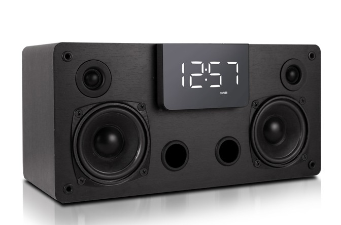 40w wooden bookshelf speaker 2.1 ch flac hifi music support fm/remote control /clock/alarm/usb/line in/micro sd