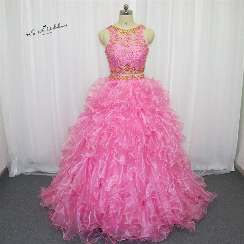 Vestido de Debutante 15 anos Pink 2 Piece Quinceanera Dresses 2018 Lace Gold Beaded Quinceanera Gowns Ruffles Organza Short Prom image
