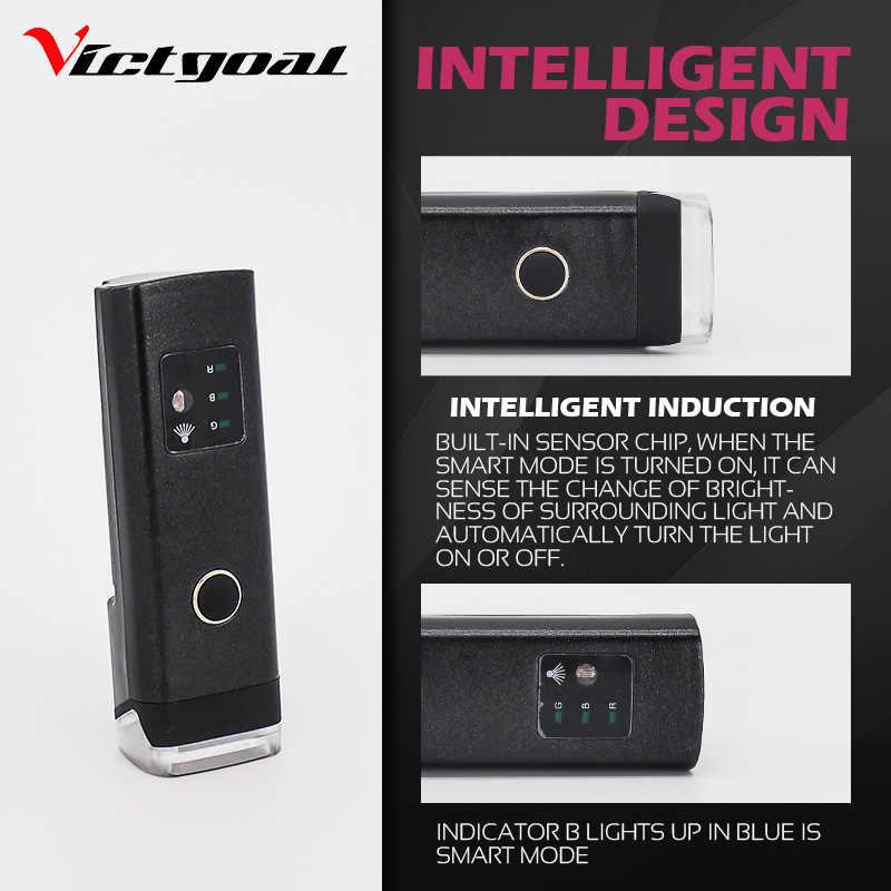 VICTGOAL vélo lumière USB Rechargeable lampe de poche pour vélo Intelligent LED vélo lumière vélo phare avant lampe vtt