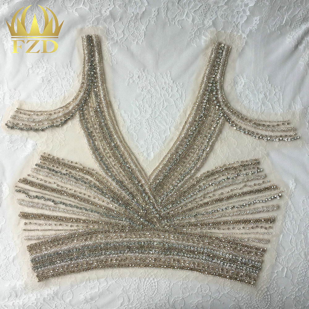 (5Pieces) Sewing On Beaded Bling Rhinestone and Crystals Applique for Clothing Wedding Dresses