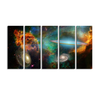 HD Multi Pieces Nebula Space Scenery Giclee Prints HD Customized Photo Printing Wall Picture For Living