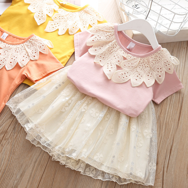 Girls Ruffle Outfits Kids Clothing Children Clothes Boutique Thanksgiving 3t Girls Clothes Teen Cotton Princess Lace Skirts Suit