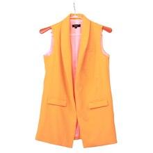 Women Fashion elegant office lady pocket coat sleeveless vests jacket outwear casual brand WaistCoat