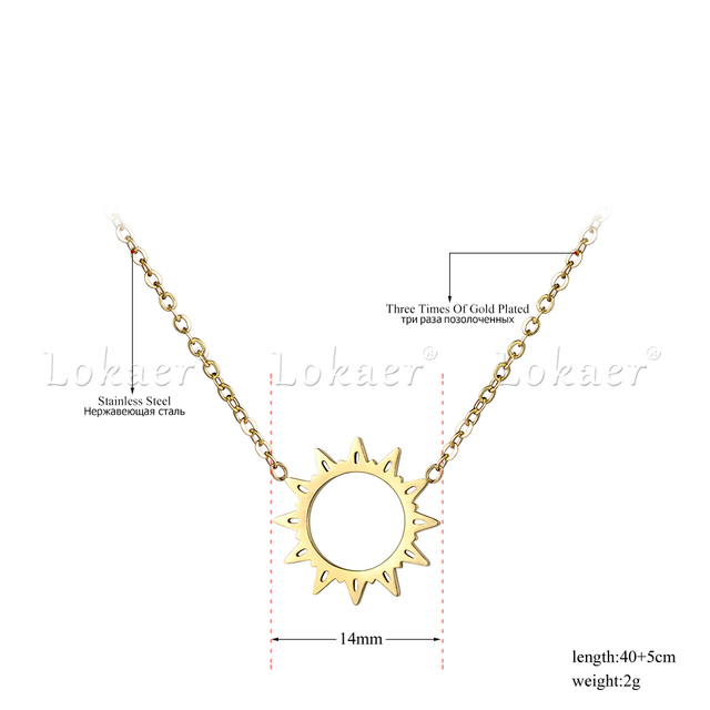 Classic Stainless Steel Hollow Sun Flower Pendant Neckalce