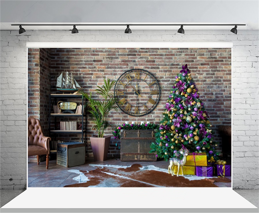 Laeacco Brick Wall Clock Christmas Tree Indoor Scene Photography Backgrounds Vinyl Custom Camera Backdrops For Photo Studio