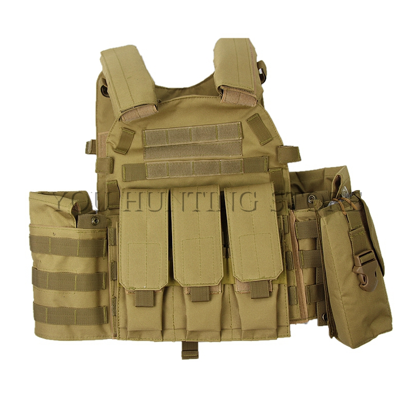 4 Colors Mens Tactical Vest Military 600D Oxford Swat Vest Field Battle Airsoft Molle Combat Assault Plate Carrier Hunting Vest