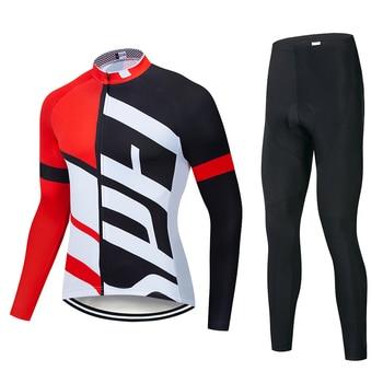 2019 SPE Equipe manga comprida Ciclismo jersey calças jardineiras Conjunto ropa ciclismo MTB da bicicleta da bicicleta vestuário jersey Uniforme roupas Masculinas