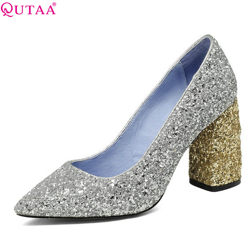 QUTAA 2017 Women Pumps Summer Ladies Shoes Square High Heel Pointed Toe Genuine Leather Woman Wedding Shoes Size 34-43 qutaa 2017 ladies summer shoes pointed toe heel woman flat shoes genuine leather bow tie black women ballet flats size 34 39