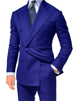 Classic Style Double Breasted Blue Groom Tuxedos Peak Lapel Groomsmen Men Blazers Suits (Jacket+Pants+Tie) NO:490