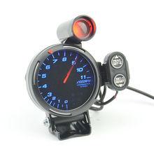 3.75 «Шаговый Двигатель Зеленый и красный сигнальные лампы Тахометр Датчик 0-11000 ОБ./МИН. Черный корпус Применимо к 3/4/6/8-цилиндровый