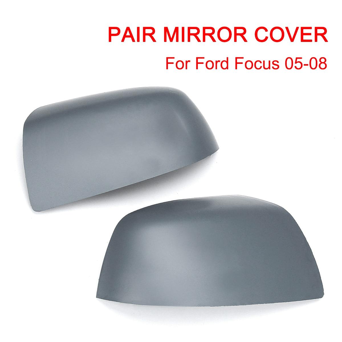 Pair Set Side Rear view Door Mirror Cover Cap Trim Grey For Ford Focus MK2