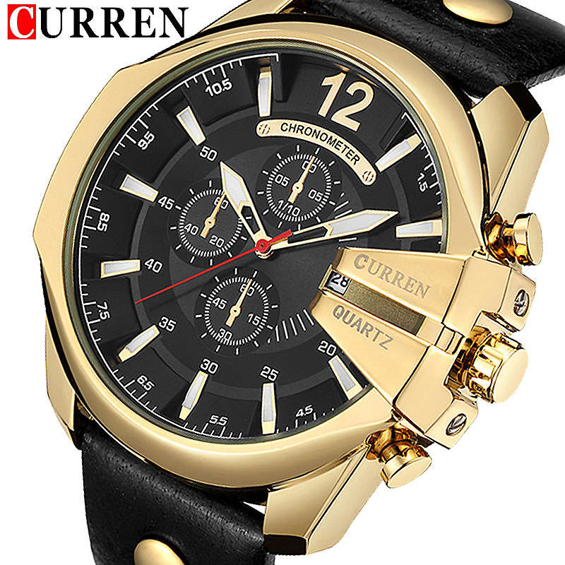CURREN Date Men Watch New Top Luxury Brand Sport Military Business Casual Male Clock Leather Wrist Quartz Mens Watches Gift 8176 2017 fashion men watches top brand luxury function date leather sport watch male business quartz wrist watch reloj hombre