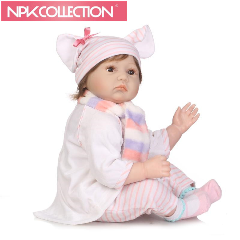 More Realistic Soft Silicone Reborn Baby Doll with Pink elephant Girl Toy 55cm Lifelike Newborn Child Kids Best Birthday Gift