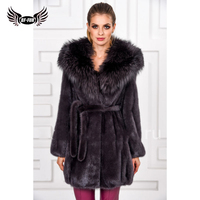 Real Fur Coats For Women Natural Fur Whole Skin Top Grade Womens 2018 Winter With Fox Collar Fashion Slim Solid Mink Coat Fur