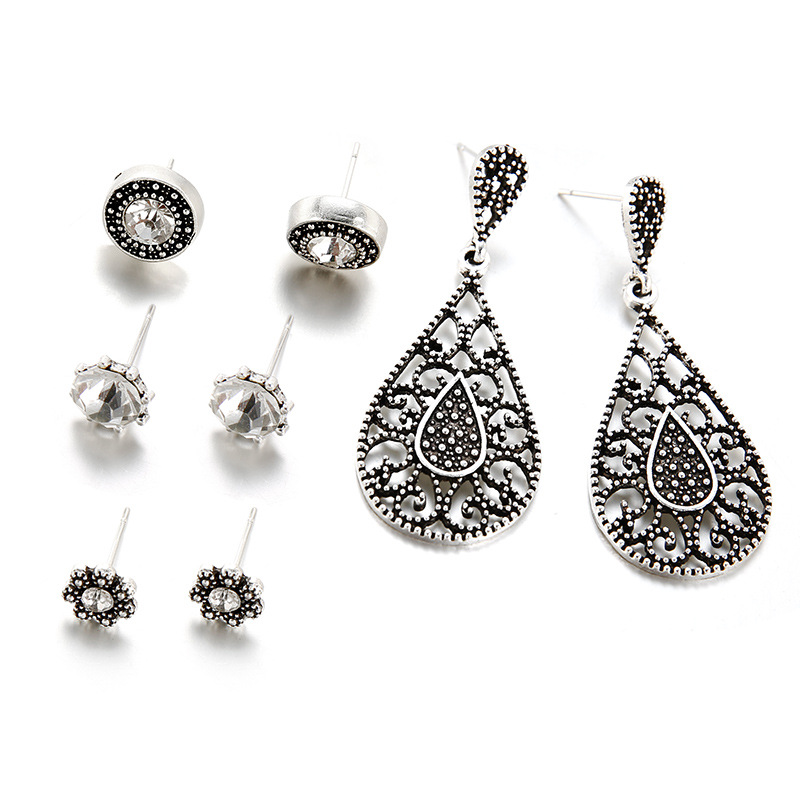 40 Pairs/lot Stud Earrings Women Crystal Long Earing Set Antique Silver Color Round Waterdrop Hollow Flower Jewelry Wholesale image