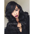 Womens long wigs body wave Natural synthetic hair  Black wig for women side bang African Amreican heat resistant wig Darg Queen