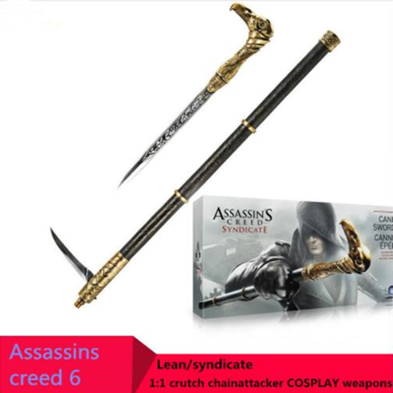 цены Cosplay NECA Assassins Creed 6 Syndicates Weapons Props 1: 1 Sleeve Sword Walking Stick Brinquedos PVC Action Figure Model Toys
