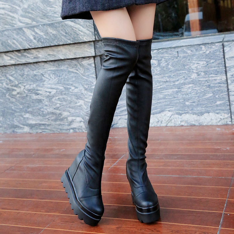 Women Boots Fashion Over The Knee Long Boots Women Shoes Round Toe High Heel Thick Bottom Wedge Black Boot Shoes for Girl brown knee high boots for women flat heels round toe turn over boot opening women dress boots fashion shoes luxury women