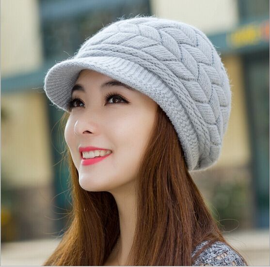 ea089da88b New Korean hats for women rabbit fur hat knitted hat Peaked cap lovely warm  thick wool hat winter caps girl bone women beanies