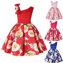 Girls Flower Ball Gown Dresses For Girls Formal Wedding Party Dress Kids Applique Beaded Rose Princess Dress Children Clothing