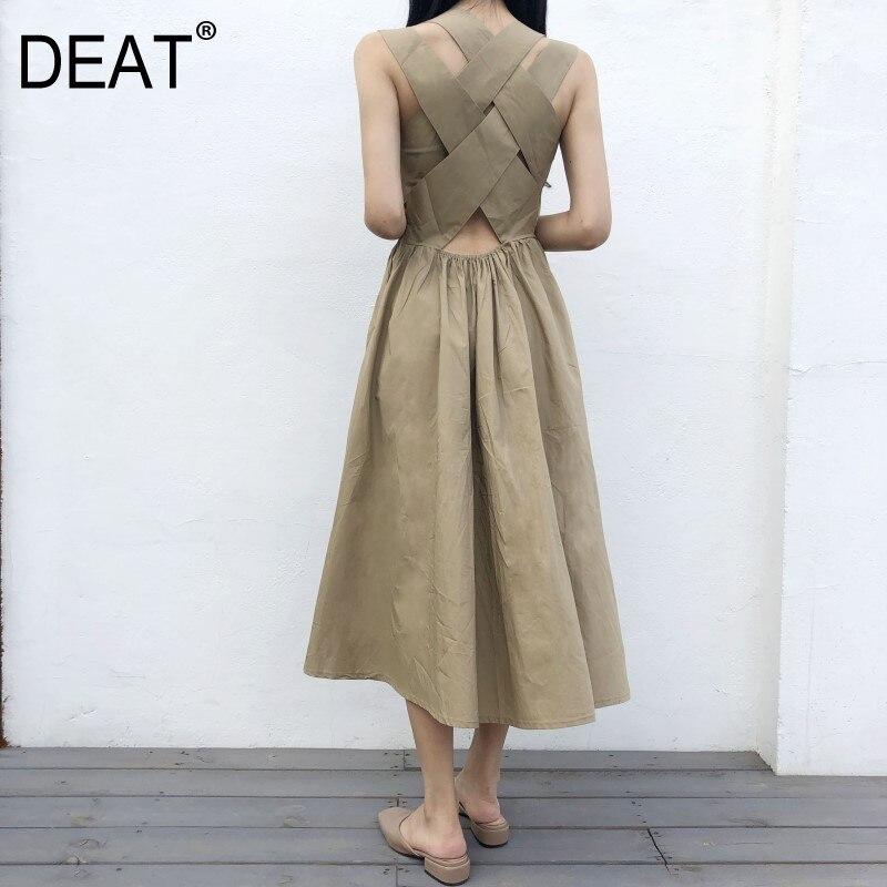 DEAT 2020 New Summer Fashion Women Straples Cross Body Round Neck Badange High Waist Japan Styles Dress Girl's WG62601L