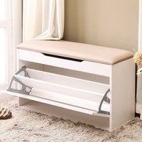 ONEISALL Shoe Rack Bench For Entryway Shoe Cabinet Bench Wooden Storage With Seat Cushion Shoe Rack