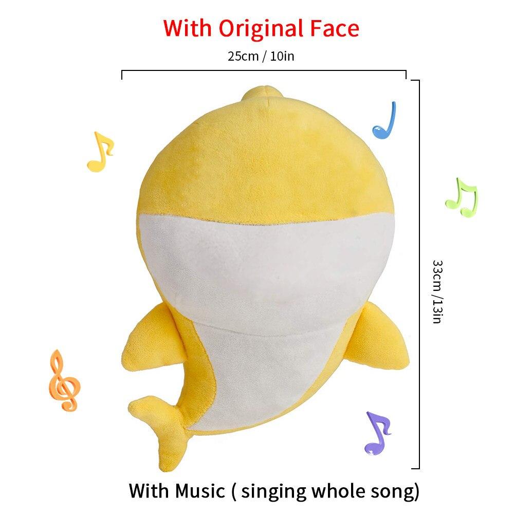 Bonecas macias Do Bebê Dos Desenhos Animados Tubarão Tubarão Brinquedos Com Música Bonito do Animal de Pelúcia Brinquedo Do Bebê Bonecas Cantando a Canção Inglês Para O Presente crianças Menina