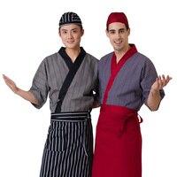 New Unisex Japanese Korea style Short sleeve cooking uniform top waiter hotel uniform shirt overalls chef restaurant uniform