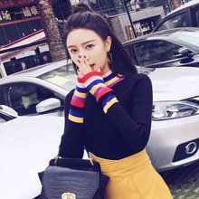 turtleneck sweater knitted rainbow korean women pink woman plus size winter womens clothing fall long sleeve