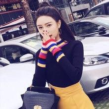 turtleneck sweater knitted rainbow korean women pink woman plus size winter womens clothing fall long sleeve