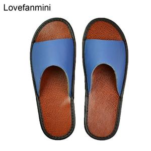 Image 3 - אמיתי פרה עור נעלי בית מקורה זוג החלקה גברים נשים בית אופנה מזדמן אחת נעלי PVC רך סוליות אביב קיץ 515