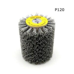 Image 2 - 1 adet 100*120*13mm aşındırıcı tel fırça tekerlek için 9741 tekerlek zımpara P80 P600 ahşap mobilya Metal parlatma taşlama