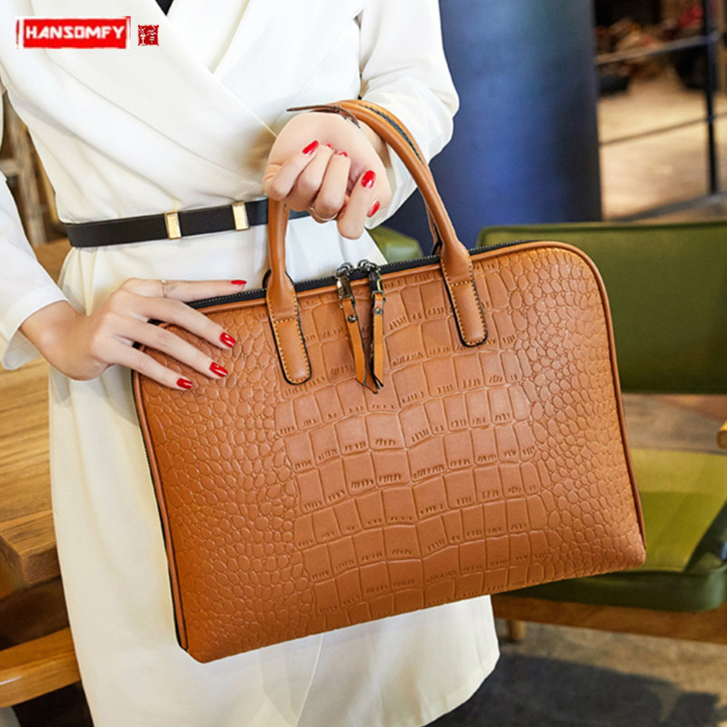 New Business Women's Handbag Crocodile Pattern Female Briefcase Fashion Ol Workplace 14 Inch Laptop Bag Shoulder Crossbody Bags