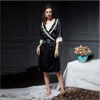2018 Новое поступление на осень зиму шелк эксклюзивный наивысшего качества шелковые халаты с кружевом модные пикантные для женщин