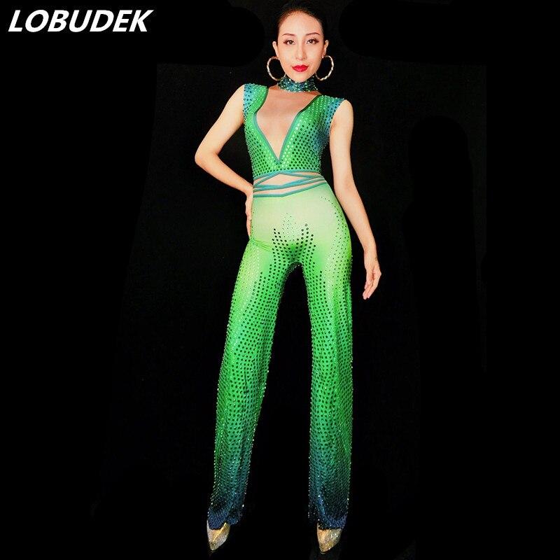 Femmes Discothèque Parti Show Tenue Body D'une Strass Sexy Costume Salopette Extensible Pièce Seule Bar Vert Célébration Dj Scintillant A8BqtnH8W