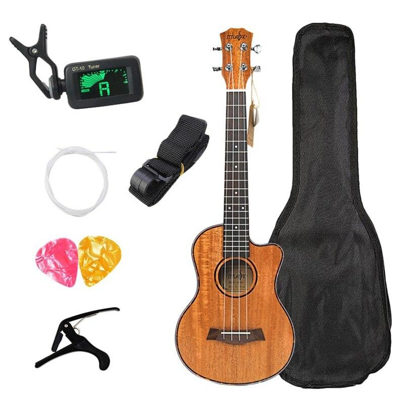 Kits de ukulélé de Concert 23 pouces acajou Uku 4 cordes Mini guitare hawaïenne avec sac accordeur sangle Capo pique pics pour débutant Mu