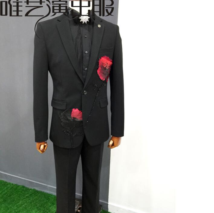 black clothes men embroidery suits designs masculino homme terno stage costumes singers jacket