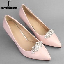 1 Pair Handmade Rhinestone Flower Decorative Shoe Clips Crystal Charm Elegant Wedding Shoes Metal Decorations Accessories