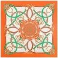 2016 Новая Коллекция Весна Шелковый шарф Дизайнер Платок Люксовый Бренд Лошадь Пояса Женщина Шарфы и Обертывания Цветочный Узор Платки Аксессуар