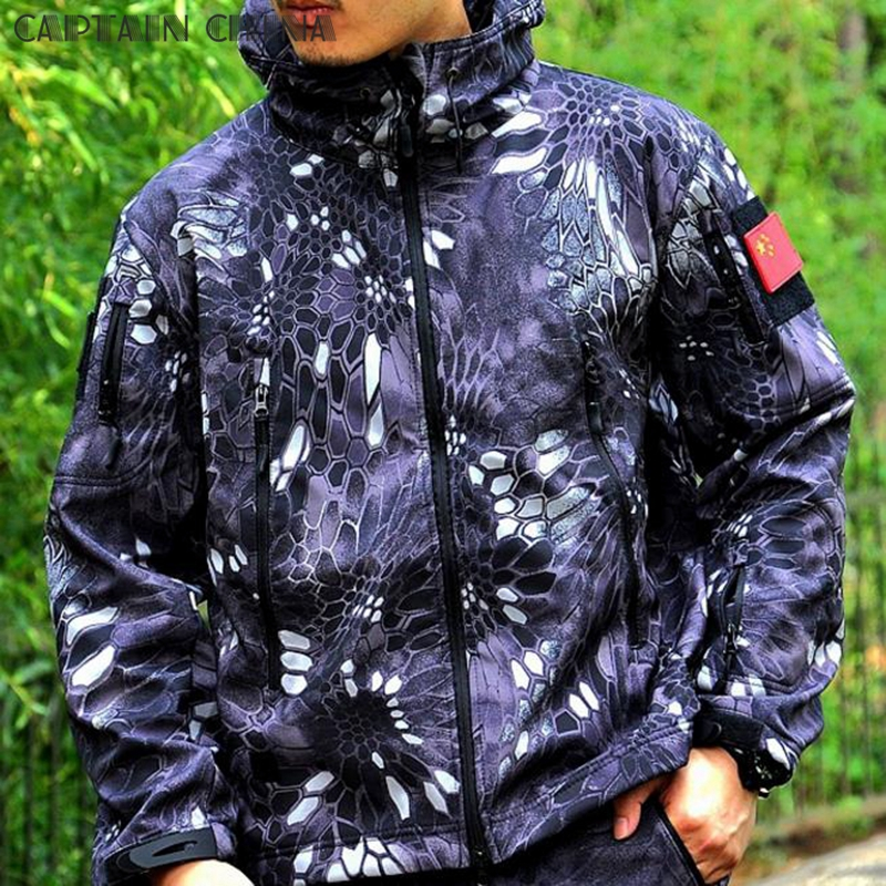 Kryptek Typhon Tactical Jacket Soft Shell Outdoor Military Sport Jacket Waterproof Windproof Sports Hiking Clothes Outerwear lurker shark skin soft shell v4 military tactical jacket men waterproof windproof warm coat camouflage hooded camo army clothing