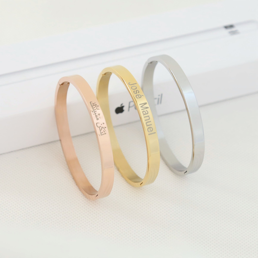 Personalized Europe Titanium Bracelet Lovers Opening Custom Engraved DIY Rose Gold Lettering Stainless Steel Hand Women Jewelry