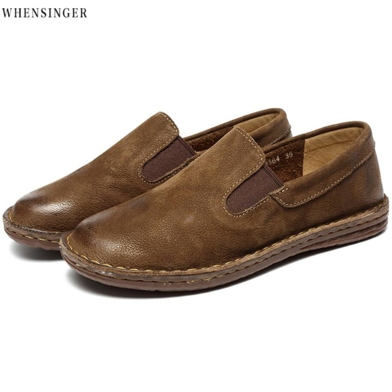 Whensinger -2018 Genuine Leather Women's Flat Shoes Casual Loafers Slip On Women Shoes Flats Soft Moccasins Lady Driving Shoes new handmade casual shoes men high quality genuine leather soft loafers moccasins slip on male flats driving shoes lazy slippers