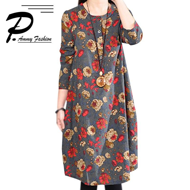 Women s Cotton   Linen Plus Size Retro Floral Print Mid-Long Dress  lagenlook Lady voguees Trend long shirts linen tunics 588c7e3de4c5