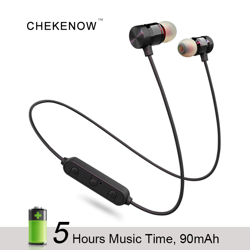 Chekenow A613 Magnetic Bluetooth Earphone With Mic 5 Hours Wireless Sports Headset For Phones Handsfree Mini Earpiece Earphones iskas wireless earphones buttons head phones microphone cell phones blutooth electronics mini bluetooth handsfree good new