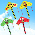 2017 new colorful smiling face kite with long tail children cartoon triangle kite easy fly outdoor toys for kids